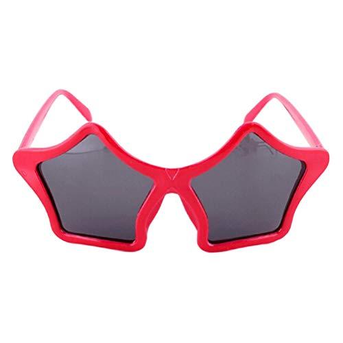 (BESTOYARD Stern Sonnenbrille Kinder Kostüm Sonnenbrille Spaßbrille Party Favors (Rot))