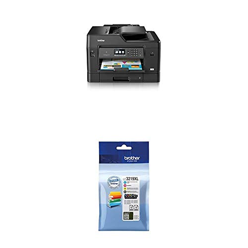 Brother MFC-J6930DW DIN A3 4-in-1 Farbtintenstrahl-Multifunktionsgerät (2 x 250 Blatt Kassette, Drucker, Scanner, Kopierer, Fax) + LC-3219XL Original Tintenpatronen im Value Pack, schwarz, cyan, magenta, gelb