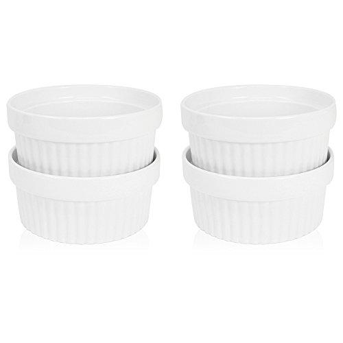 COM-FOUR 4x Ragout Fin Schalen aus Keramik, XXL Auflaufform und Pastetenförmchen für z.B. Creme Brulee, in weiß, 200 ml (04 Stück) (Keramik-schale)