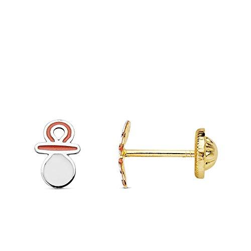 ge Schnuller Emaille 6x 4mm Gold bicolor 18KTES mit Gewinde ()