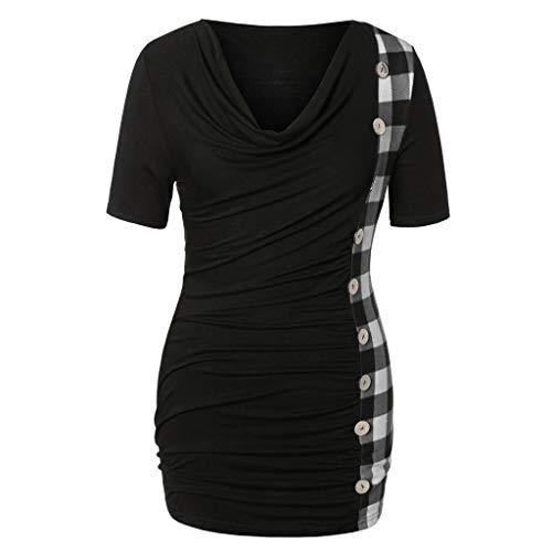 Lonshell Femmes Mode T-Shirt Tops Plaid Bouton Casual Manches Courtes Boléros Grande Taille Printemps été Pullover Blouson Tops Mode Pas Ch