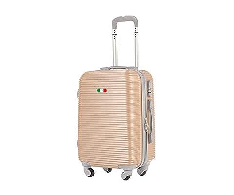 Valise bagage cabine 50cm - Trolley ABS ultra Léger - 4 roues pour voler avec EasyJet - Ryanair art 1165 / petit champagne