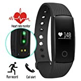 Unchained Warrior® PERFORMANCE Smart Fitness Tracker Watch - with Heart Rate Monitor - Best Quality Touch Screen Wearable Smart Band for Activity Tracking: Calorie Counter, Sleep Tracker, Alarm, Sports Bracelet and Pedometer for Boys, Girls, Men & Women. Works with Apple iOS, Android with Notifications – BLACK STRAP with FREE BLUE STRAP worth £9.99
