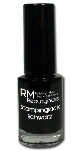 Stampinglack Schwarz 4ml Stamping Lack Nagellack Nail Polish RM Beautynails