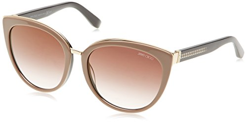 Jimmy Choo Damen DANA/S QH 116 Sonnenbrille, Schwarz (Nude Shaded Black/Brown Ms Gld), 56