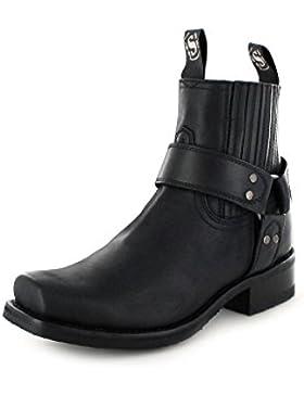 Sendra Boots 8286 Loren Negro/ Damen und Herren Bikerstiefelette Schwarz/ Motorradstiefelette/Herrenstiefel/Damenstiefel