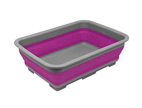 Invero zusammenklappbare Waschschüssel-Tragbares 10Liter Waschbecken, ideal für Camping, Wohnwagen, Aktivitäten im Freien, Küche und mehr-Violett