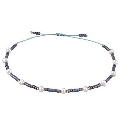 KELITCH Charme Seil Armbänder Frauen Männer Einfache Winzige Schicht Süßwasserperlen Seed Bead Freundschaftsarmband - Grau Blau U