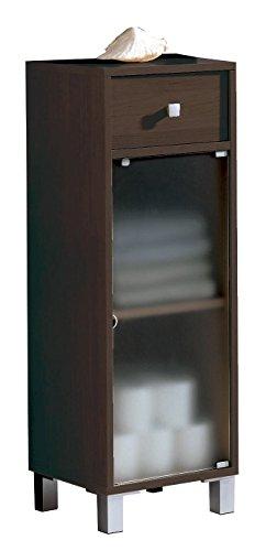 Armario bajo para baño o aseo con cajon y puerta de cristal con estante color wengué