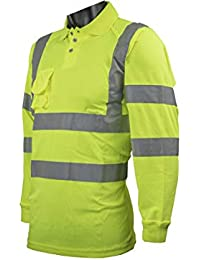 High Visibility Polo Shirt Reflective Tape Band Work Safety Sweatshirt Security Jacket Workwear Hoodie Work Wear Hoody Jumper Hoody (Polo Shirts para Hombre)