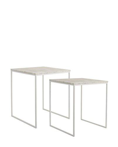 Bloomingville Lot de 2 Tables Basses carrées métal marbre Couleur - Blanc