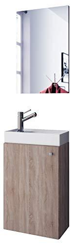Waschplatz Sonoma Eiche Waschbecken mit Schrank u. Spiegel