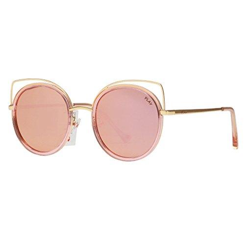 HUACANG Frauen Sonnenbrille, Klassische Twin-Beams Metallrahmen Cat Eye Spiegel Gläser, Polarisierte Wayfarer Cat Eye Oversized Sonnenbrillen für Frauen (Farbe : Rosa)