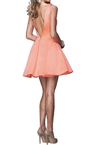 Promgirl House Damen Glamour Satin A-Linie Cocktailkleider Abschlussball Party Ball Abendkleider Kurz Hellgelb