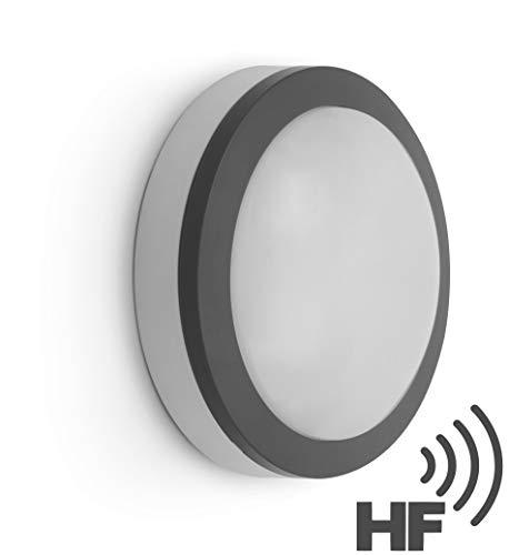 LED Aussen Sensorleuchte 12W IP65 mit HF-Bewegungsmelder - Deckenleuchte Wandleuchte - tagesweiß (4000 K) -