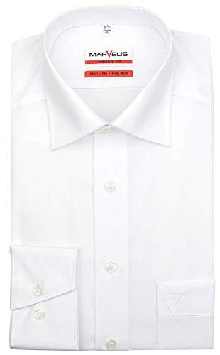 MARVELIS Modern Fit Hemd Langarm mit Brusttasche Popeline, Gr.39 Farbe: Weiß