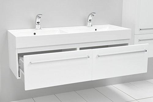 Quentis Doppelwaschplatz Aruva, Breite 140 cm, Waschplatzset 3-teilig, Waschbeckenunterbau mit zwei Schubladen, Front und Korpus weiß glänzend - 3