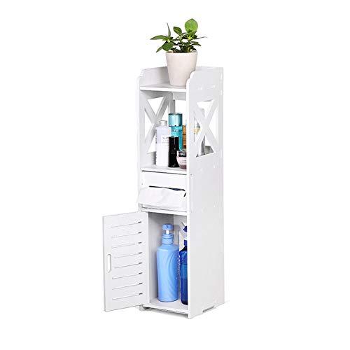 GOTOTOP Badschrank, Weißes Holz Badezimmerschrank Nachttisch Aufbewahrungsschrank für Badezimmer Küche Wohnzimmer Schlafzimmer (17 x 22 x 80 cm)