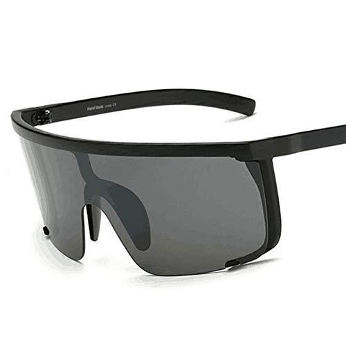 TIANKON Oversize Half Frame Damen Sonnenbrille Herren Blue Mirror Goggle Shades Uv400 Lady Sonnenbrille,Schwarzd