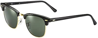 Ray Ban Clubmaster Classic RB3016W0365-49-21gafas de sol Marco Negro Lentes de cristal verde sólido