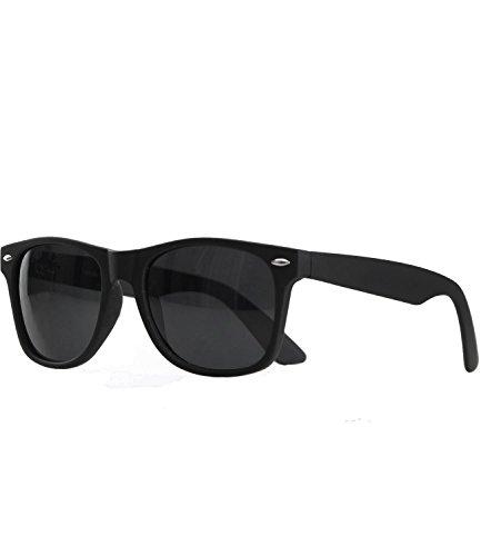 caripe Wayfarer Sonnenbrille Nerd Brille - viele Farben - W-g (schwarz matt gummiert - black getönt)