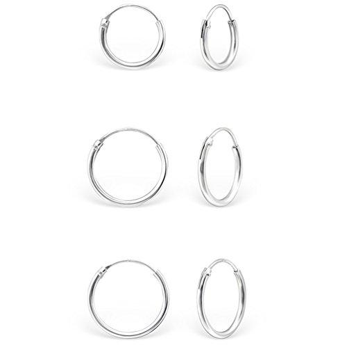 DTP Silver - Conjunto de 3 pares de Pendientes de Aro - Plata 925 - Espesor 1.2 mm, Diámetro 12, 14, 16 mm