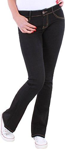 BD Damen Boot-Cut Jeans, Schlaghosen, Ausgestellt schwarz stretch Schlag (40/L) (Schwarz Damen Stretch Boot)