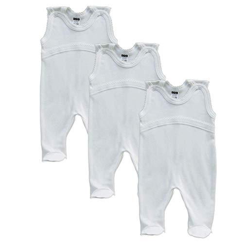 MEA BABY Unisex Baby Strampler aus 100% Bio-Baumwolle im 3er Pack. Baby Strampler Weiß (Creme). Baby Strampler für Mädchen Baby Strampler für Jungen. (62)