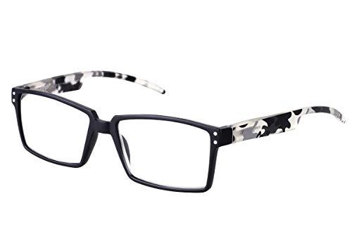 b48bb837f3f TBOC Gafas de Lectura Presbicia Vista Cansada - Graduadas +2.50 Dioptrías  Montura Negra Patillas Camuflaje