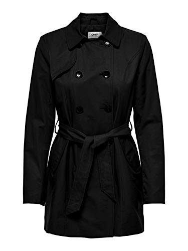 ONLY Damen Mantel Jacke onlLAURA Long Trenchcoat, Größe:S, Farbe:Schwarz