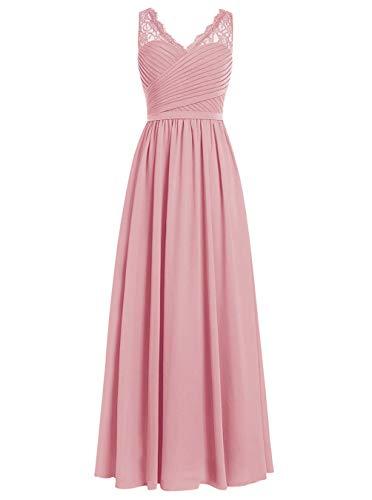 Brautjungfernkleider Spitze Lang A-Linie Chiffon Ballkleider V-Ausschnitt Ärmellos Abendkleider Hochzeit Kleider Blush 32