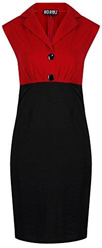 Up 40er 50er Pin Kostüm - Neue Rockabilly Vintage 50er Jahre Wiggle Kleid (DE 36, Rot)