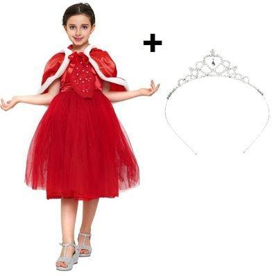 Kostüm Red Prince (Prächtiges Mädchenkostüm Prinzessinnen Kleid mit viel Tüll / Winter-Kleid für Mädchen zu Karneval, Fasching, Fastnacht, Party oder zum Spielen - Fee Kostüm)