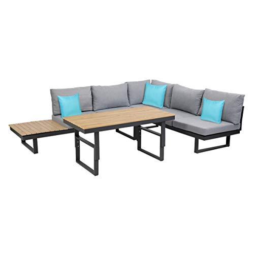 greemotion Lounge-Set San José, Gartenmöbel-Set aus Aluminium mit höhenverstellbarem Tisch, multifunktionale Sitzgruppe inkl. Kissen in Grau