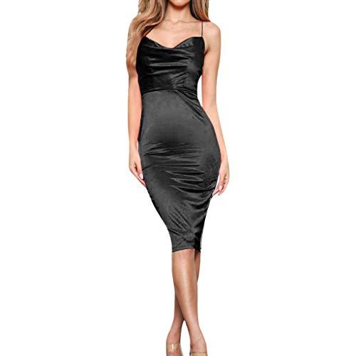 Wawer Seide, Schlinge, einfarbiges enges Kleid Sommerkleid Damen Mode Faltenkleid Sexy Dünn Abendkleid Lässig Strandkleid Ärmellos Schlinge Bodycon Party Kleid -
