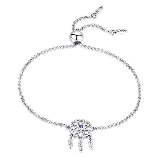 Qings Ajustable Dreamcatcher Pulsera,Plata 925 Oro Blanco Plateado Brazalete de Regalo para el Día de Navidad Mujeres