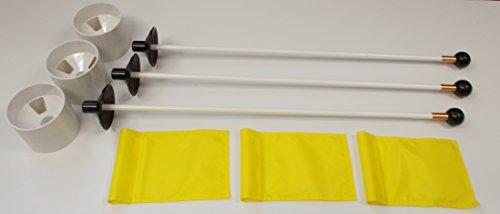 (Golf Praxis Putting Green–Deluxe Accessory Kit–(3) hell weiß Kunststoff 10,2cm Tief Verordnung Tassen + (3) Solid Gelb Jr Flagge + (3) 76,2cm weiß Fiberglas Pin Marker mit Ball Lifter Disk)