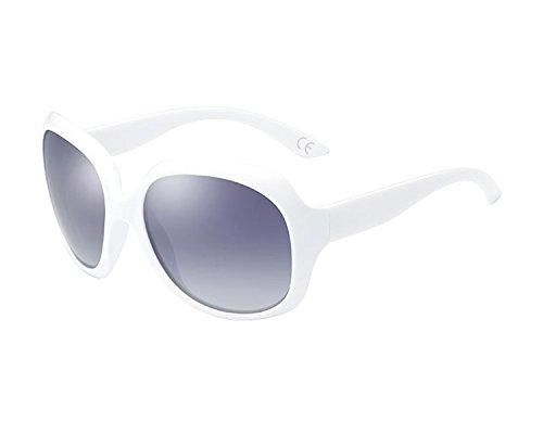 BVAGSS Mode Großer Rahmen Damen Polarisiert Sonnenbrille 100% UV-Schutz (White Frame With Gray Lens)