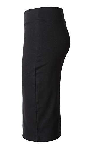 Damen Midi Rock Stretch Figurbetont Business Bleistift Röcke (M, schwarz) -