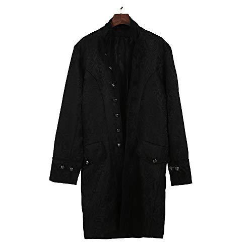 Kostüm Weiser Blau Mann - MISSWongg Männer Gothic Gehrock Uniform Kostüm Party Oberbekleidung Plus Size Herren Langarm Mantel Mode Steampunk Retro-Smoking Mantel Frackjacke (S, Schwarz)