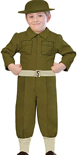 Boys Green WW1 World War One Soldier Army Uniform Military Historical Fancy Dress Costume Outfit 5-12 Years (9-10 Years)