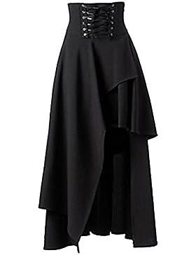 La Mujer Es Elegante Gotico Lolita Vestido Largo Irregular Vendaje La Mitad