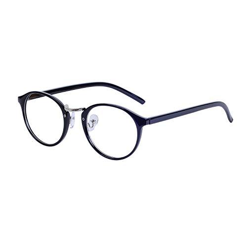 JoXiGo Rund Brille Ohne Sehstärke Klar Linse Damen Herren Retro Hornbrille Rahmen Brillenfassung mit Etui