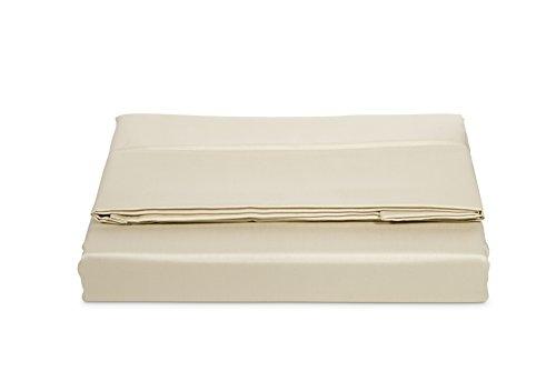 AmazonBasics Bettlaken, Baumwoll-Satin Fadenzahl 400, knitterarm, 240 x 320 + 10 cm - Beige