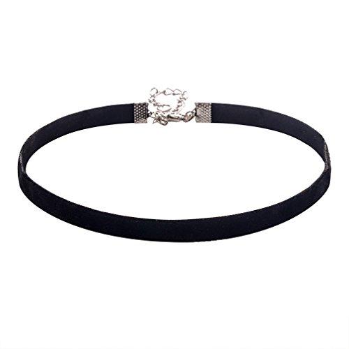 Jane Stone Damen Halskette schwarz Choker Kette ohne Anhänger minimalistisch Kette mit silberfarbnener einstellbarer Metall-Kette aus Samt und Metalllegierung