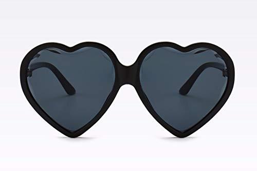 WSKPE Sonnenbrille Herzen Katze Auge Sonnenbrille Damen Elegante Sexy Brillen Schwarzen Rahmen Graue Linse