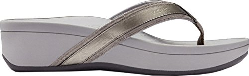 Vionic Womens 380 Hightide Pacific Leather Sandals Pewter