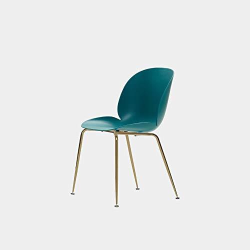 Ygetas Einfache Nordic Home Dining Stuhl Licht Luxus Kunststoff Make-Up Hocker Home Indoor und Outdoor Komfortable Stuhl Abnehmbare Hardware Beinrahmen Langlebiger Stuhl (Color : Blau) -