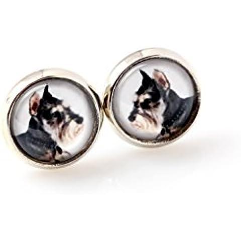 Schnauzer ritagliata, Animali vostro orecchio, orecchini, gioielli foto, mano