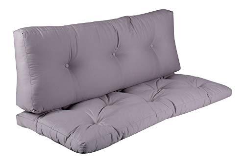 BioKinder 25253 Set Sitzkissen mit Rückenkissen Rückenlehne Loungemöbel Palettenpolster 120x55 cm, in grau